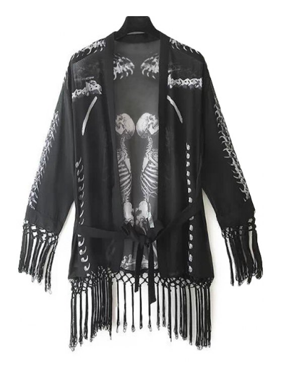 shop Skeleton Print Fringe Blouse - BLACK S