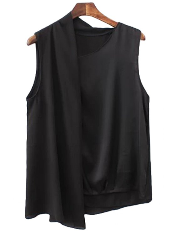 outfits Black Irregular Design Tank Top - BLACK S