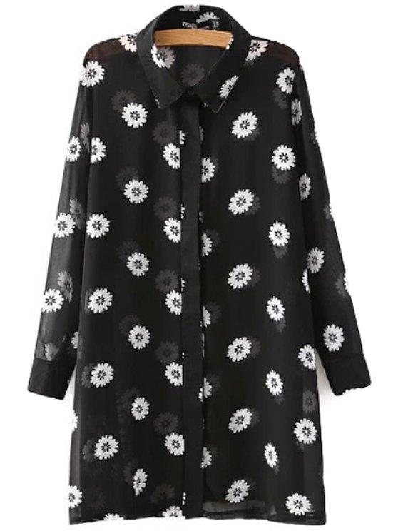 latest Full Flower Print Long Sleeves Shirt - BLACK S