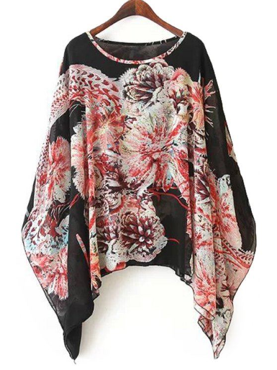 affordable Floral Print Cape Design Blouse - COLORMIX ONE SIZE(FIT SIZE XS TO M)