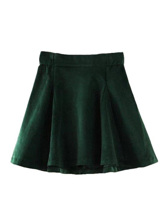 shop Corduroy Solid Color A-Line Skirt - GREEN S
