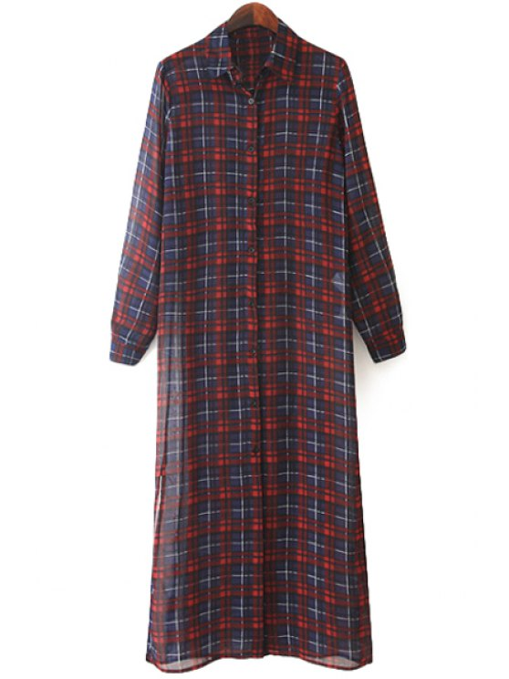 womens Plaid Print Chiffon Dress - RED M