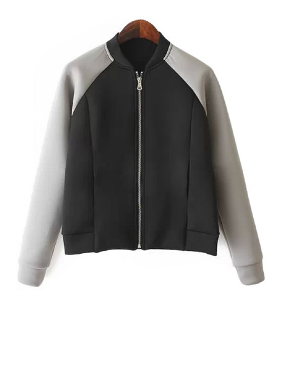 ladies Color Block Long Sleeves Jacket - BLACK AND GREY S