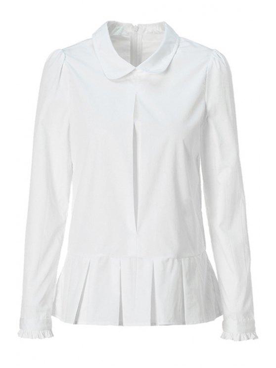 unique Solid Color Flounce Splicing Shirt - WHITE M