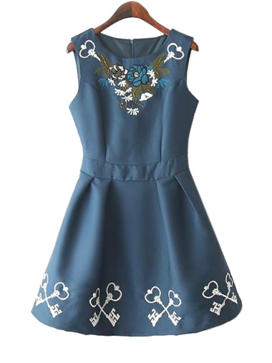 buy Floral Embroidery Scoop Neck Sundress - PURPLISH BLUE S