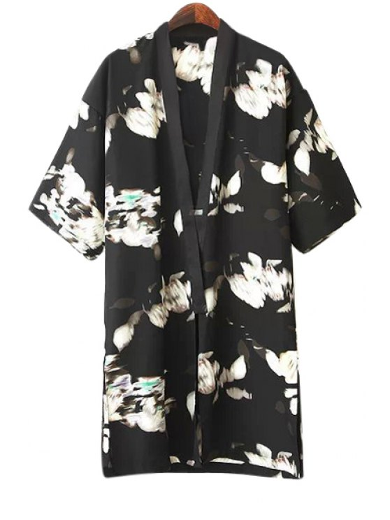 hot Abstract Print Half Sleeve Blouse - BLACK S