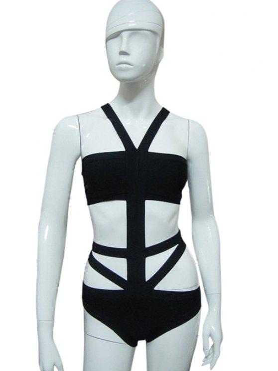 shops Strapless Bandage Swimwear - BLACK XXS