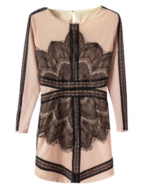 online Lacework Splicing Long Sleeves Dress - KHAKI S