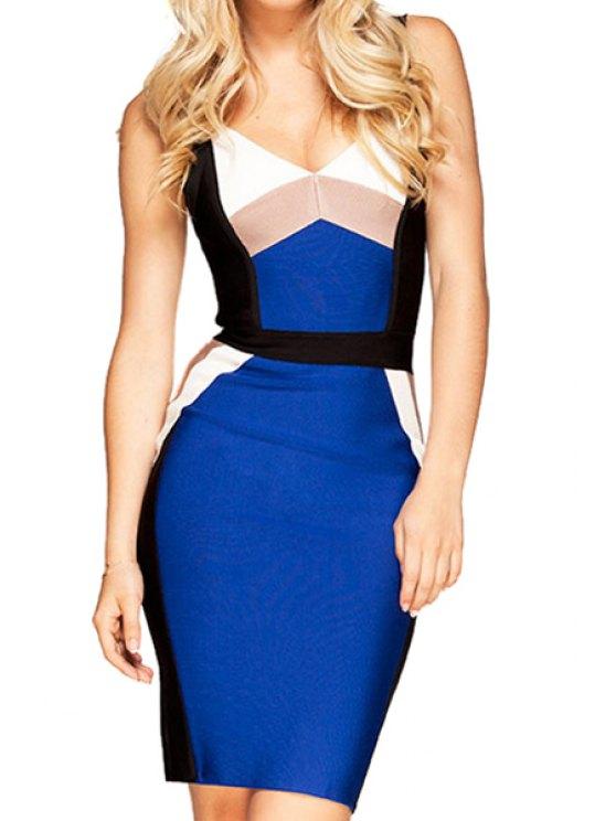 ladies Color Block Backless Dress - BLUE XS
