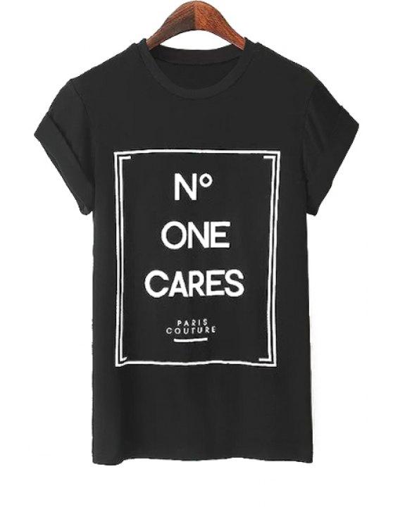 women Letters Pattern Short Sleeve T-Shirt - BLACK S