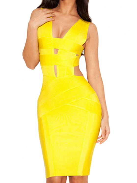 shops Backless Solid Color Sleeveless Dress - YELLOW XS
