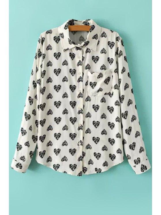 buy Full Heart Print Long Sleeves Shirt - WHITE S
