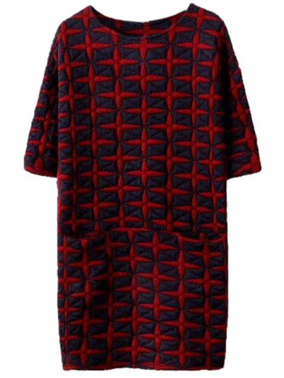 trendy Half Sleeve Star Pattern Dress - RED M