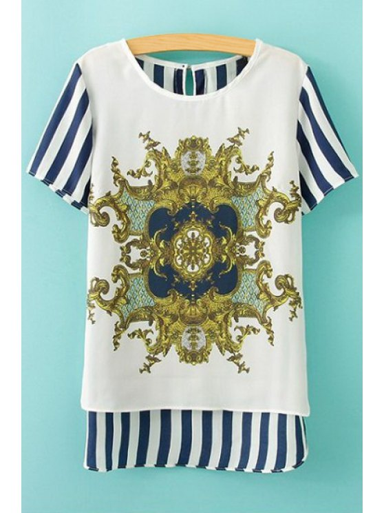 hot Print Striped Short Sleeve Blouse - AS THE PICTURE M