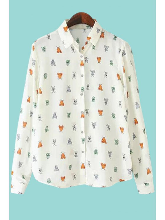 affordable Polo Collar Insect Print Shirt - WHITE S