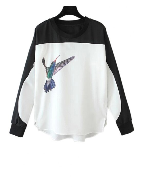 outfits Bird Print Color Block Blouse - WHITE M