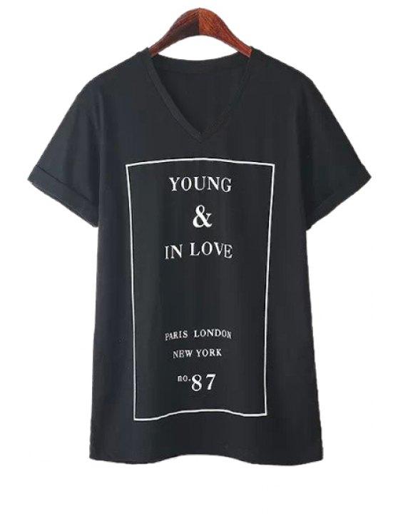 best Letter Print Short Sleeve T-Shirt - BLACK S
