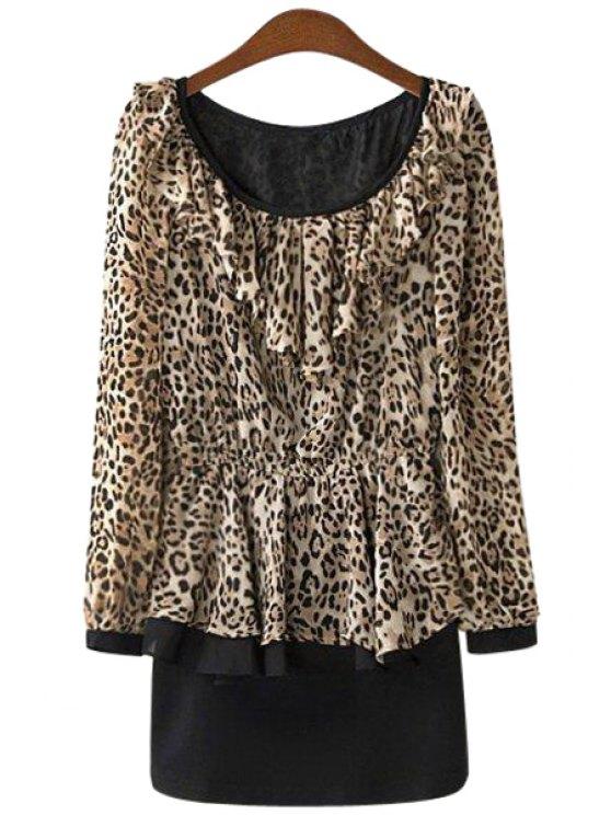 women's Leopard Print Ruffles Dress - LEOPARD S