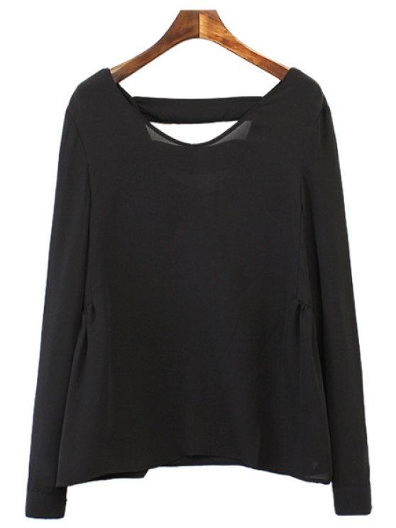 latest V-Neck Backless Long Sleeve Shirt - BLACK S