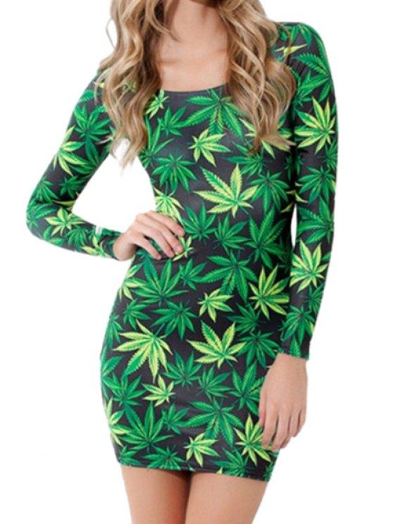 lady Leaf Print Long Sleeve Dress - GREEN S