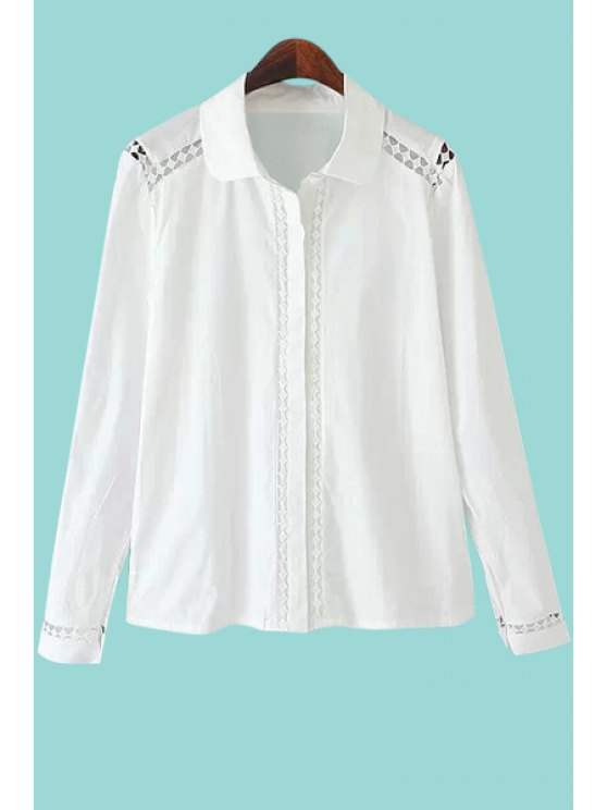 womens Openwork Solid Color Shirt - WHITE S