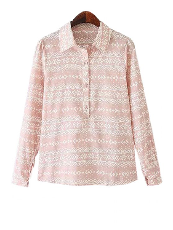online Polo Collar Floral Print Shirt - PINK S