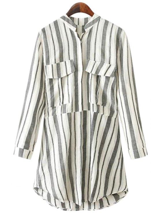 unique Stand-Up Collar Stripe Pockets Shirt - GRAY M