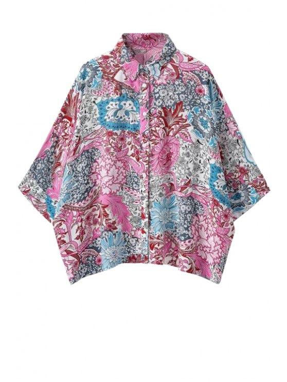 lady Floral Print Half Sleeve Shirt - COLORMIX S