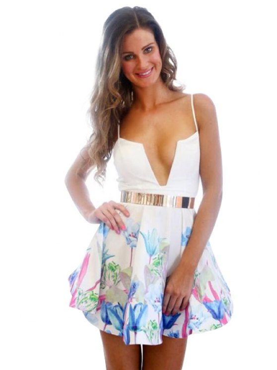 chic Flower Print Spaghetti Straps Dress - WHITE S