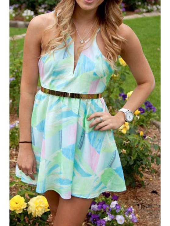 affordable Green Print Spaghetti Straps Dress - LIGHT GREEN S