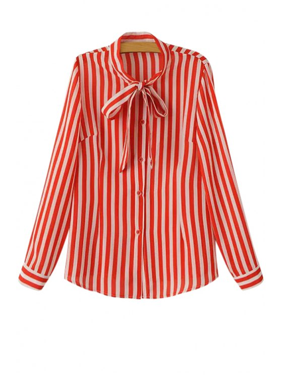 outfit Stripe Tie-Up Long Sleeve Shirt - RED M