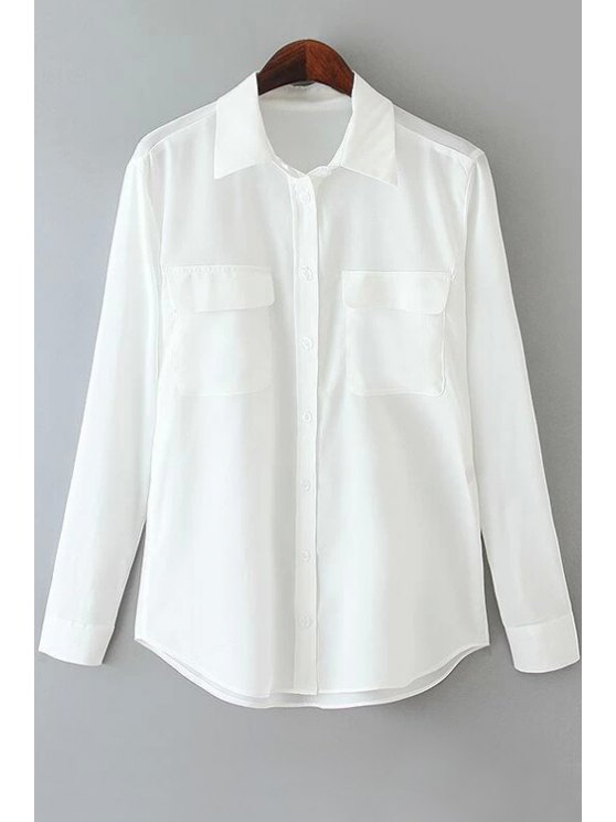fancy Solid Color Pocket Long Sleeve Shirt - WHITE S