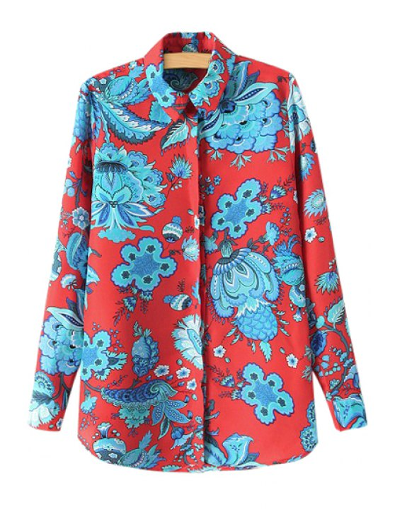 best Color Block Floral Print Shirt - COLORMIX S