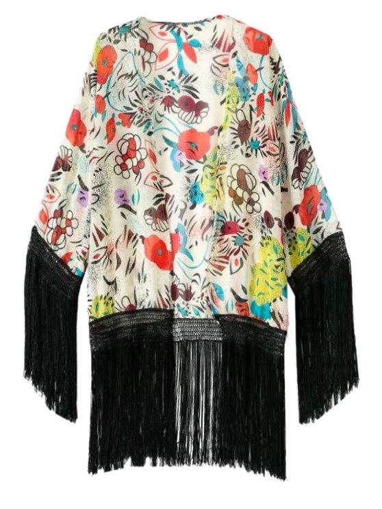 women's Floral Print Fringe Long Sleeve Coat - COLORMIX S