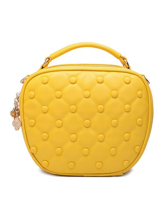 outfits Checked Chain Beading Tote Bag - YELLOW