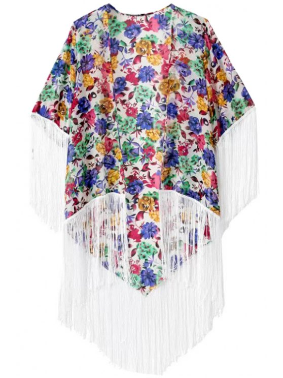 women Fringe Floral Print Half Sleeve Coat - COLORMIX S