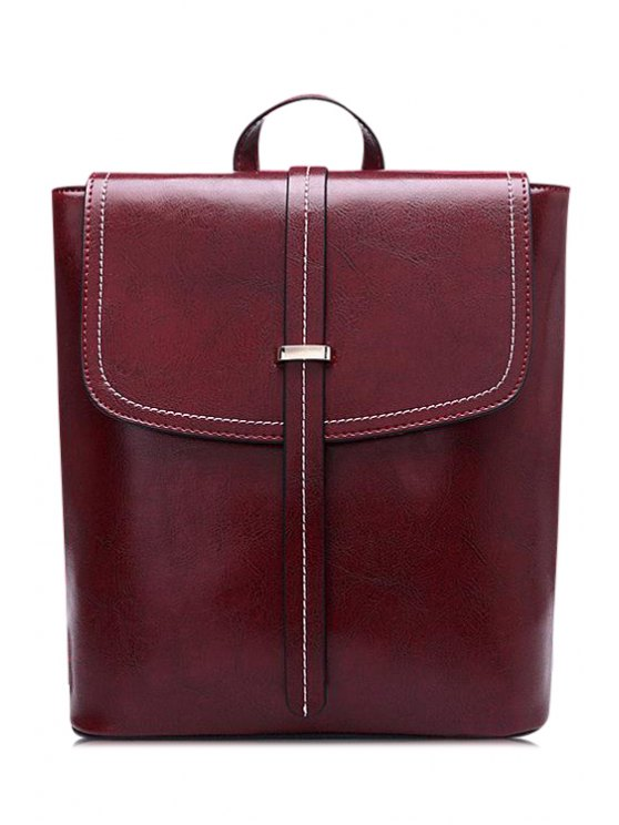 outfits Stitching Belt PU Leather Satchel - CLARET