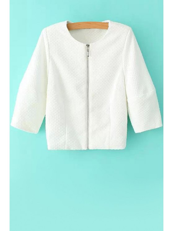 latest Solid Color Embossing Long Sleeve Coat - WHITE S