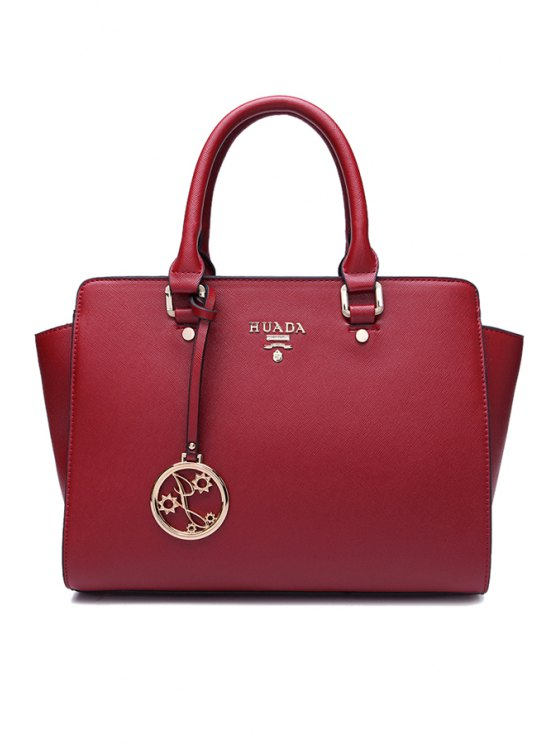 buy PU Leather Metallic Pendant Tote Bag - WINE RED
