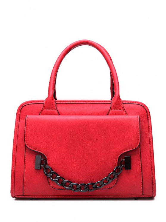 new Chain PU Leather Solid Color Tote Bag - RED