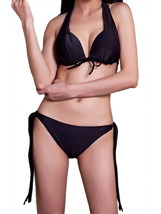 affordable Black Lace-Up Bikini Set - BLACK M
