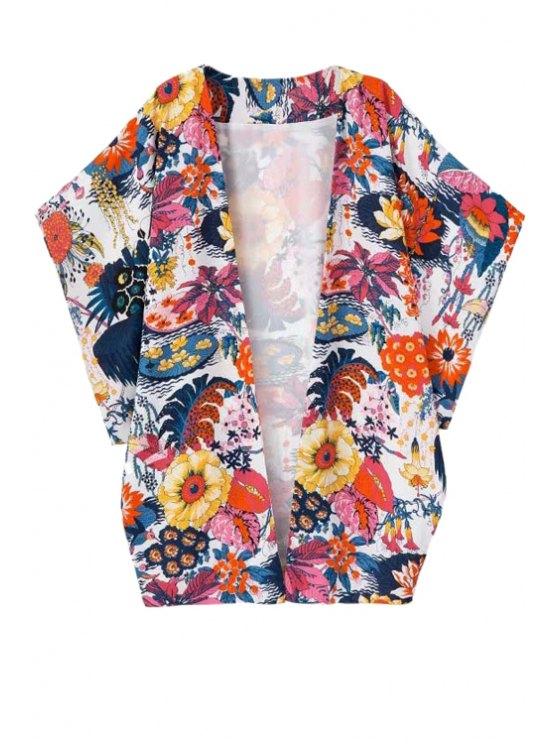 sale Floral Print Half Sleeve Coat - COLORMIX S