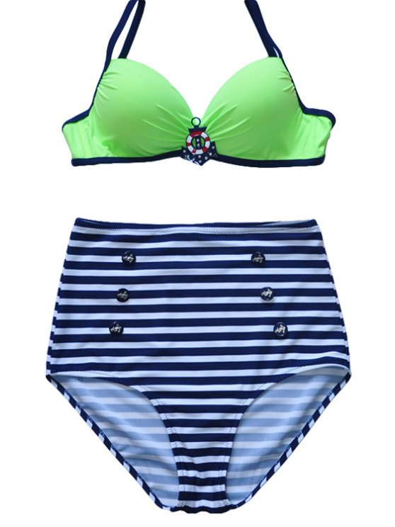 unique Spaghetti Straps Striped Bikini Set - GREEN XL