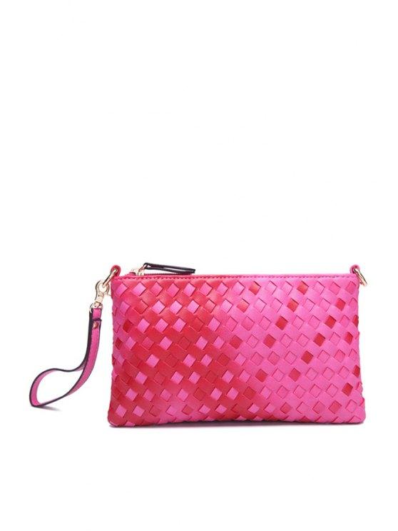 online Weaving Gradient Color Clutch Bag - ROSE