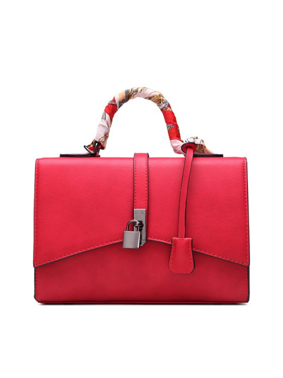 trendy Lock Pendant Scarves PU Leather Tote Bag - RED