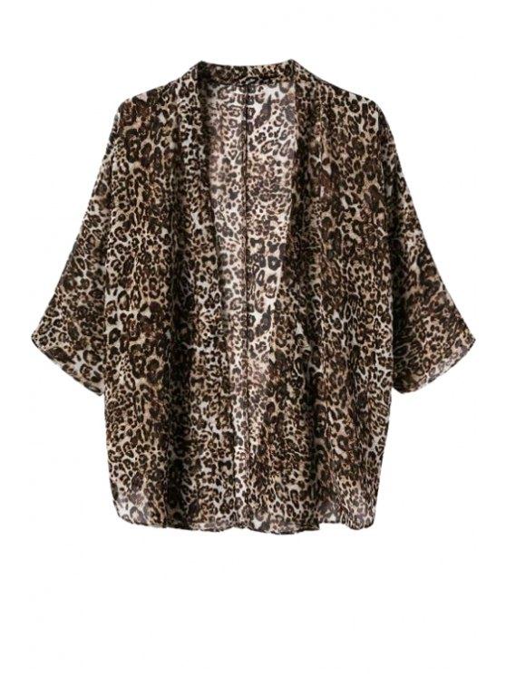 ladies Leopard Pattern 3/4 Sleeve Coat - LEOPARD S