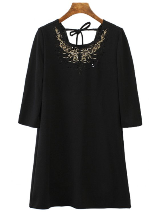 new Floral Pattern Sequins 3/4 Sleeve Dress - BLACK S