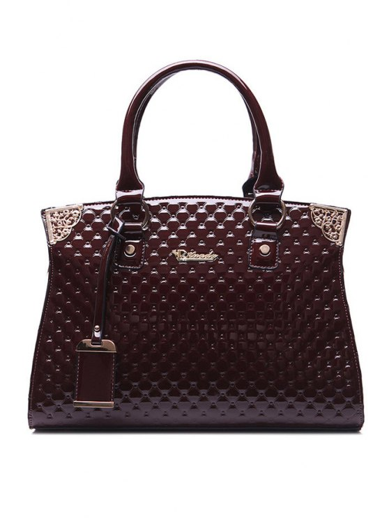 outfit Checked Metallic Patent Leather Shoulder Bag - WINE RED