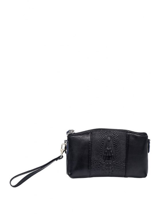 online Crocodile Print PU Leather Wallet - BLACK