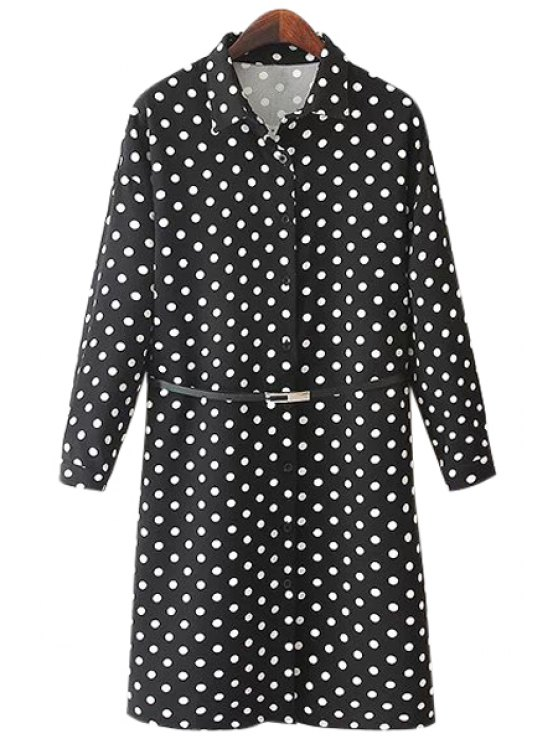 latest Belt Polka Dot Long Sleeve Dress - BLACK ONE SIZE(FIT SIZE XS TO M)